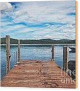 Dock On Summer Lake Wood Print