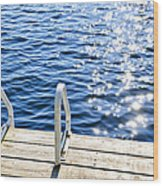 Dock On Summer Lake With Sparkling Water Wood Print