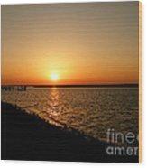 Dock On The Bay Sunset Wood Print