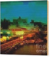 Dock On The East River - New York Wood Print