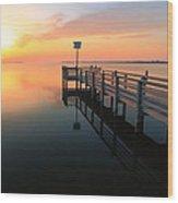 Dock On The Sunset Sound Wood Print
