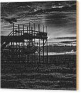 Dock Sunset Bw1 Wood Print