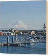Dock View Of Mt. Rainier Wood Print