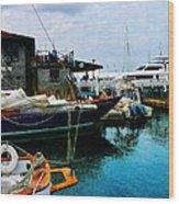 Docked Boats In Newport Ri Wood Print