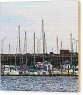Docked Boats Norfolk Va Wood Print