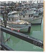 Docked Boats Wood Print