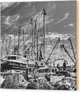 Docked Shrimper Wood Print