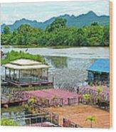 Docking Area On River Kwai In Kanchanaburi-thailand Wood Print