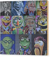 Doctor Who Muppet Mash-up Wood Print