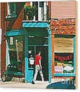 Documenting Vintage Montreal Depanneur Deli Wilensky Montreal Restaurant Paintings Cspandau  Art Wood Print