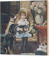Doddy And Her Pets Wood Print by Charles Trevor Grand