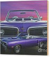 Dodge Rt Double Exposure Purple Sunset Wood Print
