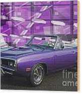 Dodge Rt Purple Abstract Background Wood Print