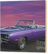 Dodge Rt Purple Sunset Wood Print