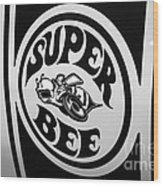 Dodge Super Bee Decal Black And White Picture Wood Print