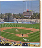 Dodger Stadium Panorama Wood Print by Eddie Yerkish