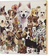 Dog And Puppies Wood Print by John YATO
