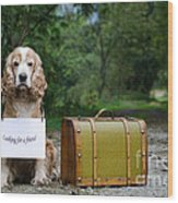 Dog And Suitcase Wood Print