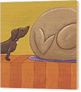 Dog And Turkey Wood Print by Christy Beckwith