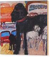 Dog At The Used Car Lot, Rex Gouache On Paper Wood Print
