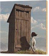 Dog Guarding An Outhouse Wood Print by Daniel Eskridge