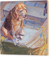 Dog On Boat Wood Print