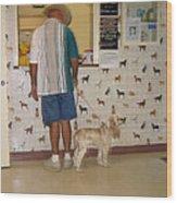 Dog Owner Dog Vet's Office Casa Grande Arizona 2004 Wood Print by David Lee Guss