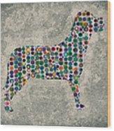 Dog Silhouette Digital Art Wood Print