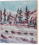 Dog Sled Wood Print