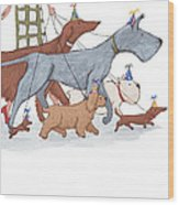 Dog Walker Wood Print by Christy Beckwith