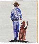 Dog Walker Wood Print