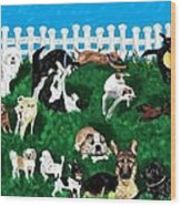 Doggy Daycare Wood Print
