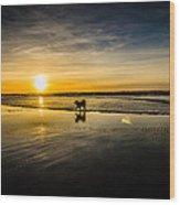 Doggy Sunset Wood Print
