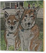 Dogs In Front Of The Gulf Station Wood Print