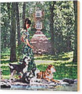 Dogs Lay At Her Feet Wood Print