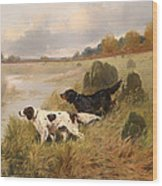 Dogs On The Scent Wood Print
