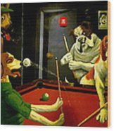 Dogs Playing Pool Wall Art Unknown Painter Wood Print
