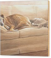 Dogs Sleeping On Couch Watercolor Portrait Wood Print