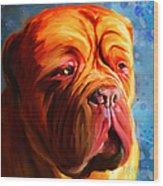 Vibrant Dogue De Bordeaux Painting On Blue Wood Print