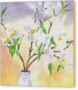 Dogwood In Watercolor Wood Print