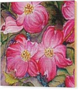 Dogwoods In Pink Wood Print