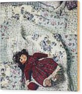 Doll On Bed Wood Print