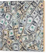 Dollar Background Wood Print by Olivier Le Queinec