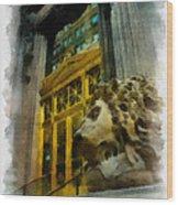 Dollar Bank Lion Pittsburgh Wood Print