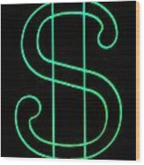 Dollar Sign Wood Print