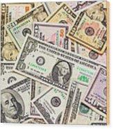 Dollars Background.  Wood Print