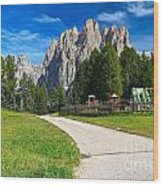 Dolomiti - Gardecia With Catinaccio Mount Wood Print