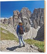 Dolomiti - Hiker In Sella Mount Wood Print