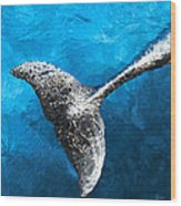 Dolphin Dancing With Light Wood Print