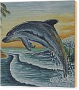 Dolphin Jumping Wood Print